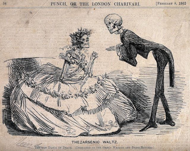 "Two skeletons dressed as lady and gentleman in ""the Arsenic Waltz,"" Etching (1862) (courtesy Wellcome Library, London):"