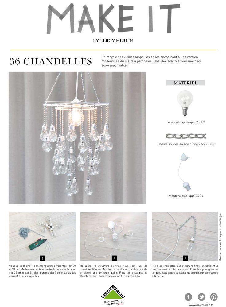 Comment recycler des vieilles ampoules et créer un lustre à pampilles ? #recup #deco