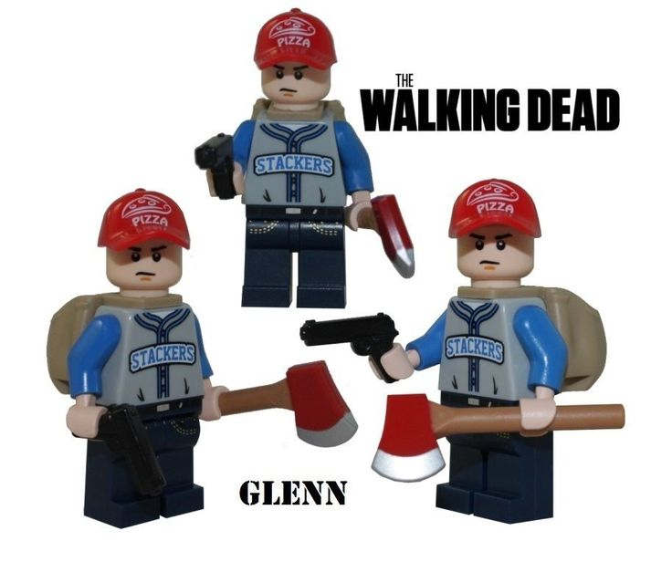 The Walking Dead GLENN minifigure action figure made with Lego zombie