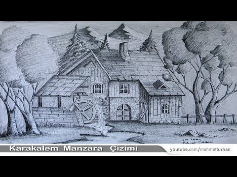 Karakalem Manzara çizim çalışması Karakalemde Gölgelendirme Ve