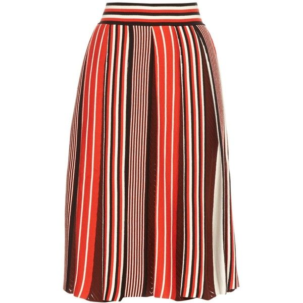 MSGM Pleated knit skirt ($425) found on Polyvore featuring women's fashion, skirts, red multi, knee length pleated skirt, textured skirt, knife pleated skirt, msgm and stripe skirt