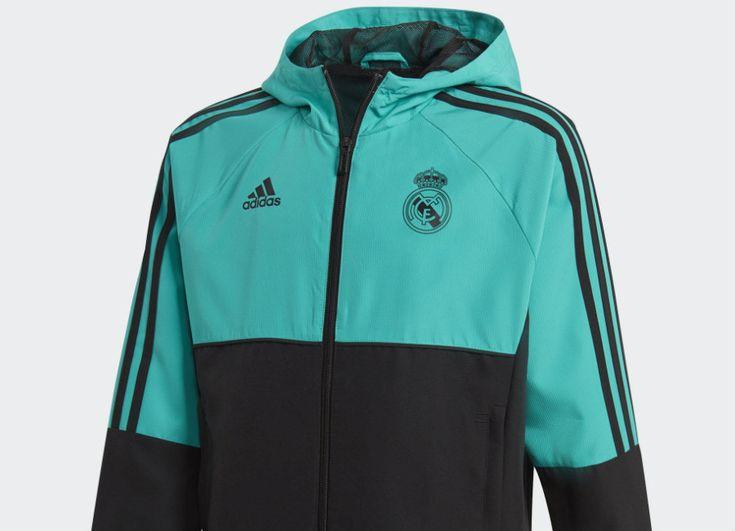 #football #soccer #futbol #realmadrid Adidas Real Madrid Presentation Jacket - Aero Reef / Black