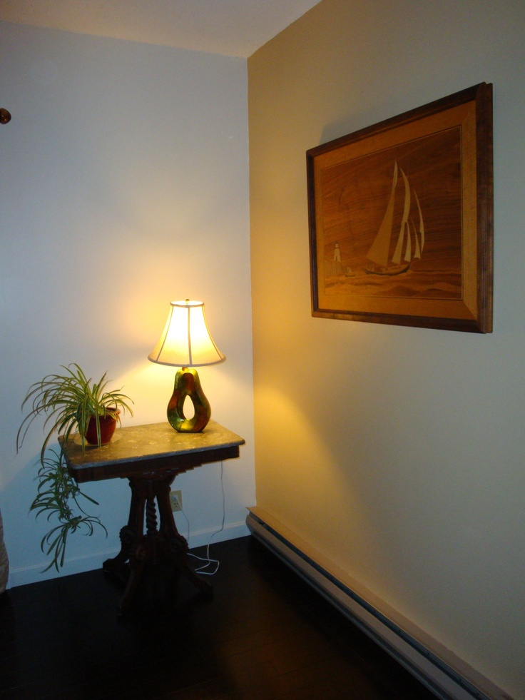 I created this tabletop luminary piece with a lamp kit from Home Depot and a lamp shade and vase from HomeGoods.