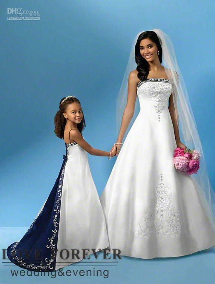 wedding royal blue | ... Gown Best Selling Silver Embroidery Royal Blue and White Wedding Dress