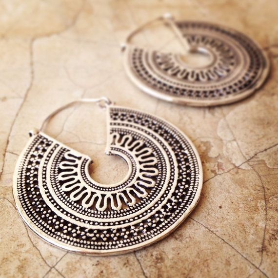 SALE Brass Earrings, Boho Earrings, Tribal Earrings, Hoop Earrings, Gold Earrings, Silver, Gipsy Earrings, Tribal Belly Dance Jewellery.