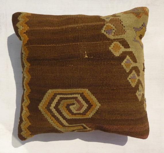 Decorative Throw Pillow Wool Kilim Pillow by PillowTalkOnEtsy, $42.00