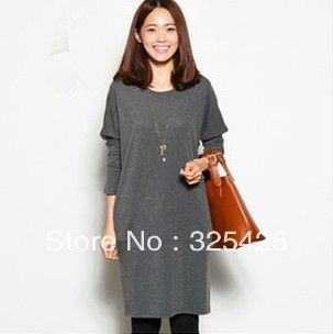 New arrival women's slim plus size loose dress cotton basic skirt batwing long sleeve dresses autumn and winter women clothing-inDresses fro...