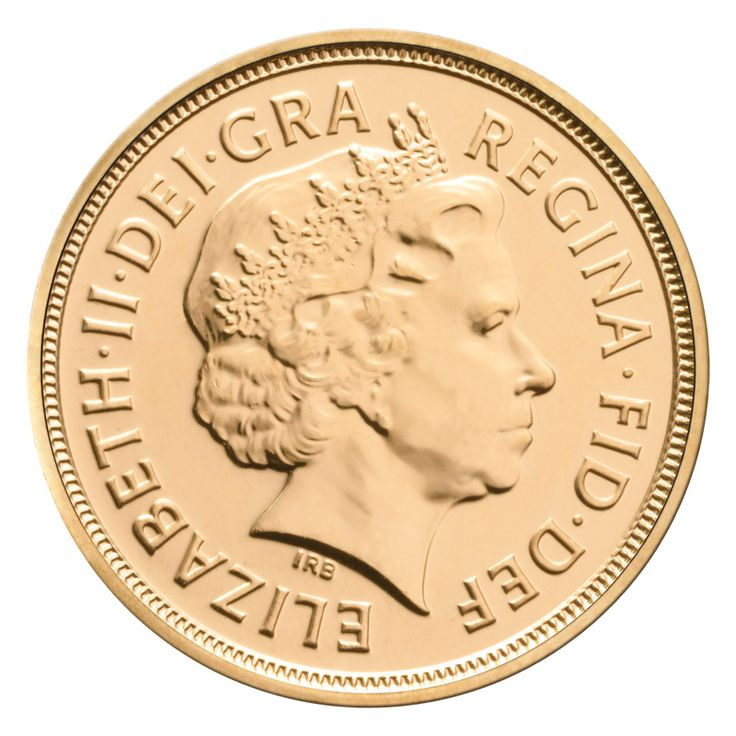 2012 Gold Sovereign Obverse featuring the modern day Queen's head design. Each 2012 Gold Sovereign contains 7.988 grams of 22 carat gold