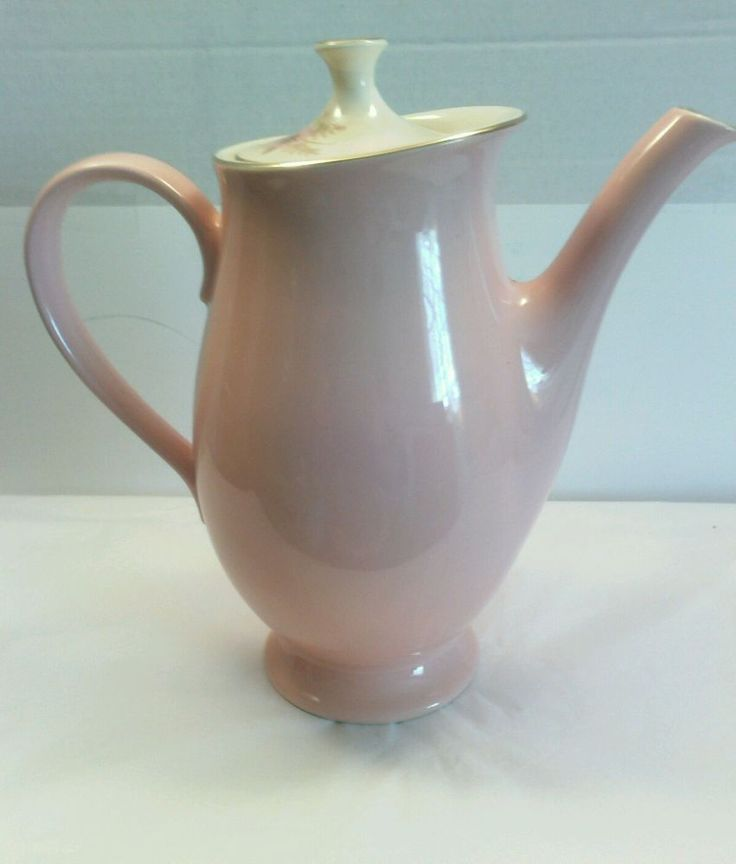 Vtg Taylor Smith Taylor Versatile Coffee Pot w lid  Pink  Flower Fern Gold Trim | Pottery & Glass, Pottery & China, China & Dinnerware | eBay!