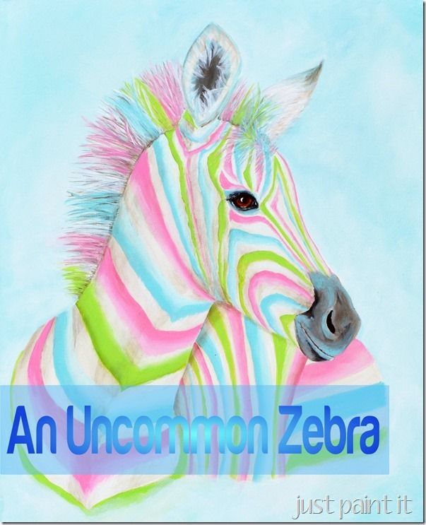 paint a multi-colored zebra with acrylic paint on canvas