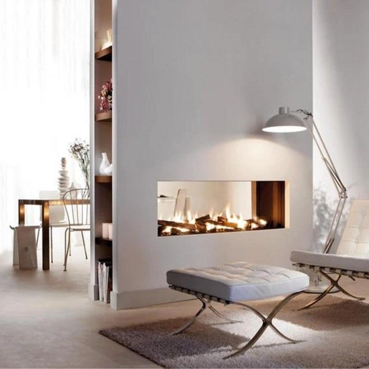 Pin On Interior Fireplace, See Through Gas Fireplace Ideas