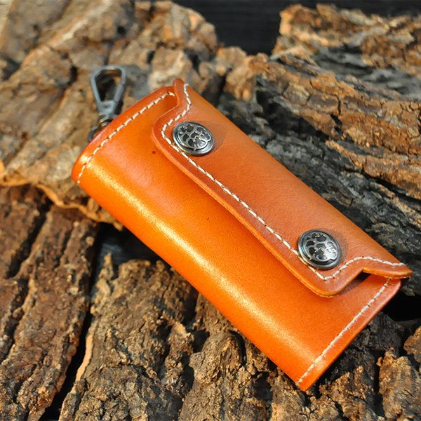 Leather Zipper Car Key Storage Bag Retro Business Waist Padlock Card Money Holder In 2020 Bag Storage Leather Zipper Key Storage