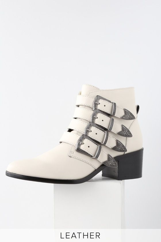 cded867fd The Steve Madden Billey White Leather Belted Ankle Booties were made for  strutting! Sleek genuine leather pointed toe booties with edgy belted  accents.