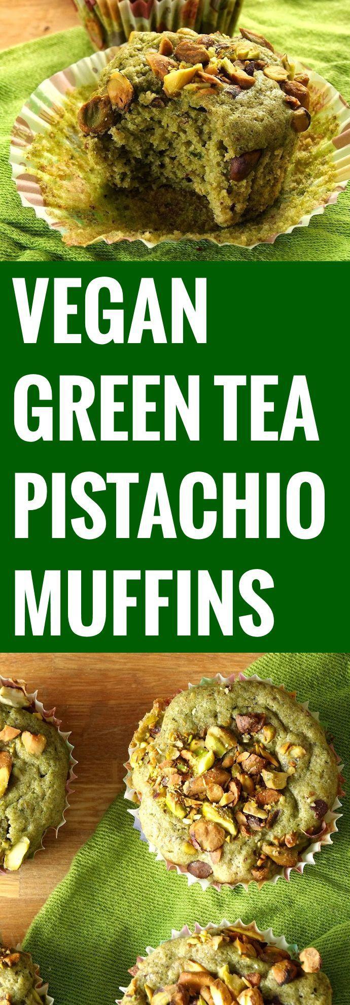 Green Tea and Pistachio Muffins // ground flaxseeds, plain non-dairy milk, plain or whole wheat pastry flour, baking powder, matcha green tea powder, lemon zest, ground cinnamon, nutmeg, vegan margarine, sugar, vanilla extract, pistachios