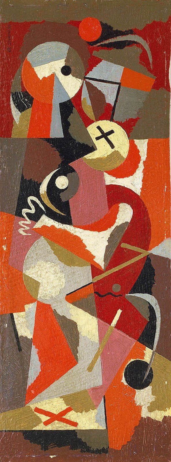 Untitled (1937) by American abstract expressionist Ad Reinhardt (1913-1967). Oil on wood. via Poul Webb art blog