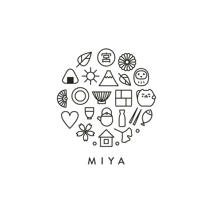 logo design for a new york-based company that imports tableware, gifts and unique lifestyle products from japan. this cozy and cute mark that consists of numerous custom icons inspired by japanese culture perfectly fits the miya's brand philosophy. circular shape conveys harmony and peace of mind. designed by let's panda studio, vancouver.