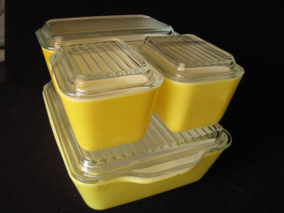 Yellow Pyrex Covered Refrigerator Dishes Set by GardenGirlVintage