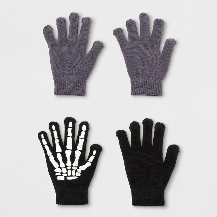 Boys' 2 Pack Skeleton & Solid Print Glove With 2 Finger Tech Touch - Cat & Jack Black/Gray One Size