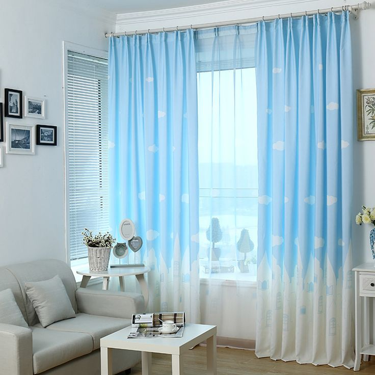 Blue Sky white cloud City of Angels pattern pink/blue/green color window screening sheer children curtain-in Curtains from Home & Garden on Aliexpress.com | Alibaba Group