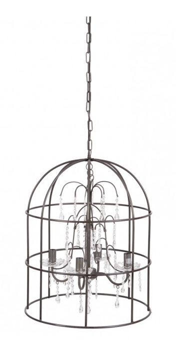 Görkemli şamdanları, kuş kafesi tasarımıyla ilgi uyandıran bu avize salonunuzda ışık saçacak, dekorasyonunuza zenginlik katacak.