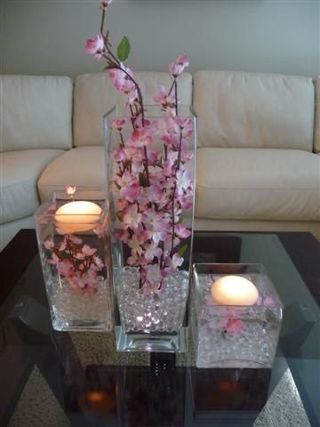 """3 Pc. Square Glass Vase filled with Cherry Blossoms"""