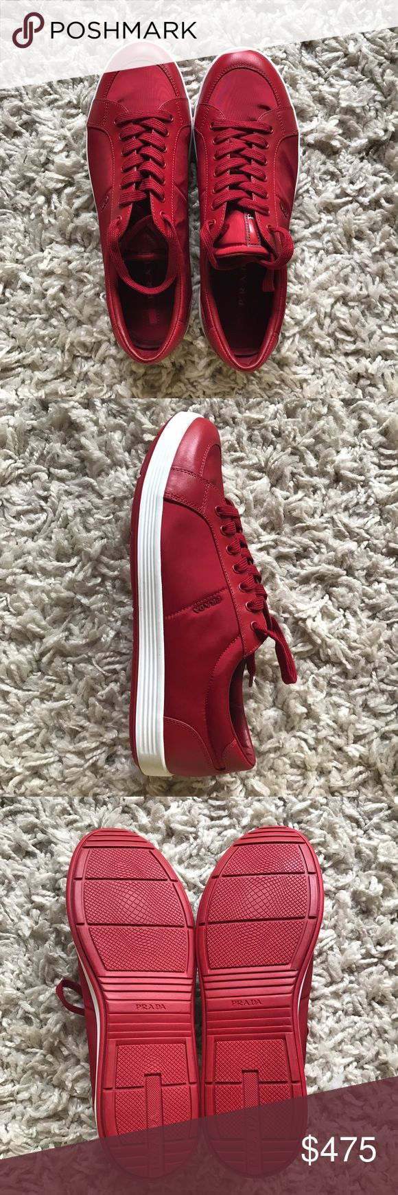 Brand New Prada Sneakers (Men's) Red Leather Prada Men's Sneakers  Brand new, never worn. Perfect condition.  Size 8 (men's) Originally purchased for $600 US dollars in Italy.  Leather and nylon. Prada Shoes Sneakers