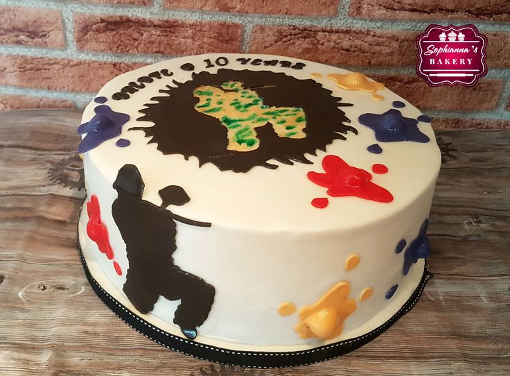 Paintball themed birthday cake