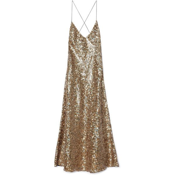 Marc Jacobs Gold Mirror Sequin Tea Length Dress (2 800 AUD) ❤ liked on Polyvore featuring dresses, gowns, gold sequin dress, gold cocktail dress, sequin dress, brown sequin dress and gold v neck dress