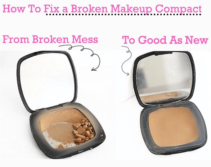 Have you ever tossed a broken compact???  Never again!  The best life hack and it WORKS!!!  Fix broken makeup powder