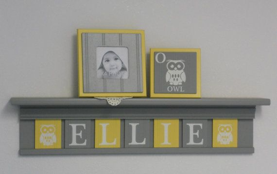 Owl Baby Nursery Room Decor Personalized Name by NelsonsGifts, $56.00