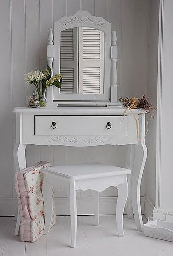 Daisy Range small white dressing table. Shown in this photograph with a stool and swing mirror