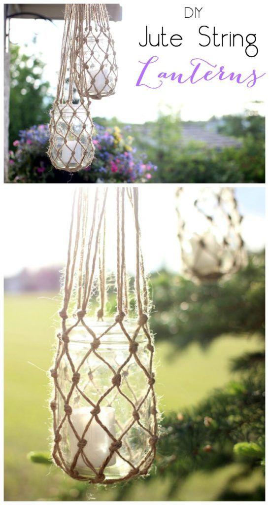 Estas hermosas lámparas de exterior podrás hacerlas con algunos frascos vacíos, unas cuantas velas y un poco de hilo para tejer. La imaginación es el límite.