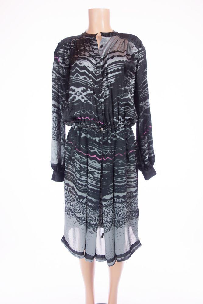 PREEN BY THORNTON BREGAZZI New Nebraska Mix Dress L Black Gray Pink Print Silk #PreenByThorntonBregazzi #PartyCocktail