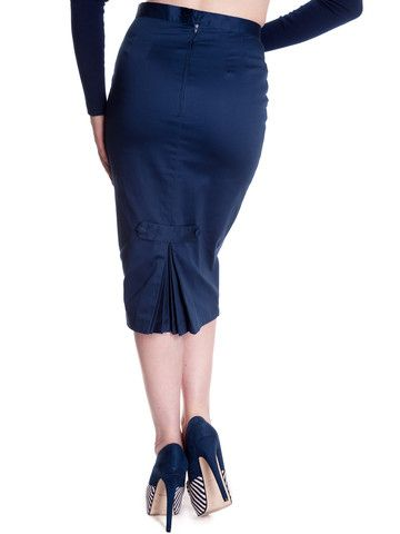 Blue Frankie Skirt – Anomalie Clothing    This cute pencil skirt features: navy blue cotton sateen fabric, self fabric waistband, tailored fit, with darts front and back from the waistband to hip, to hug your curves; discreet zip, self fabric embellishment and pleats on the back.  1950s fashion style nautical theme sailor vintage inspired alternative office work