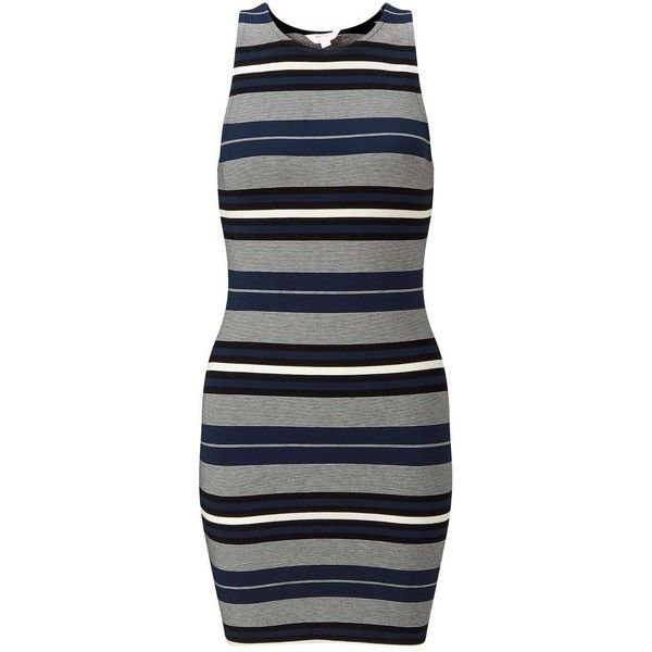 Miss Selfridge Petites Stripe Bodycon Dress ($44) ❤ liked on Polyvore featuring dresses, navy, petite, navy bodycon dress, striped bodycon dress, bodycon dress, petite dresses and navy blue dress