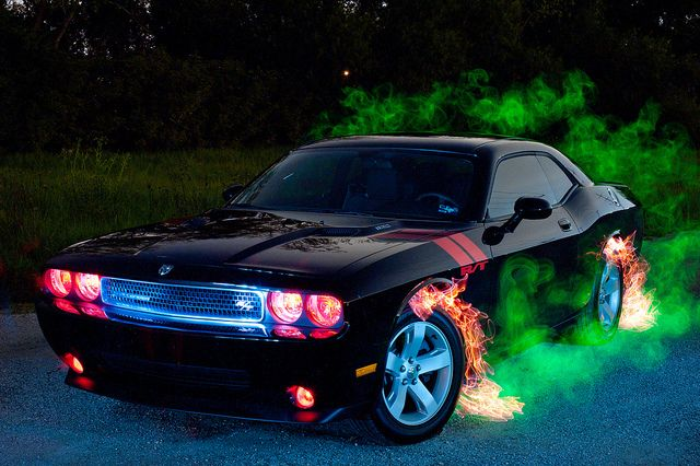 Demon Car - Light painted car, different colored lights used.  AWESOME!