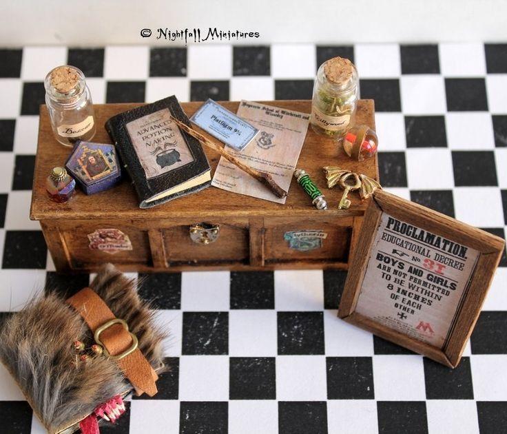 A miniature Harry Potter potions desk