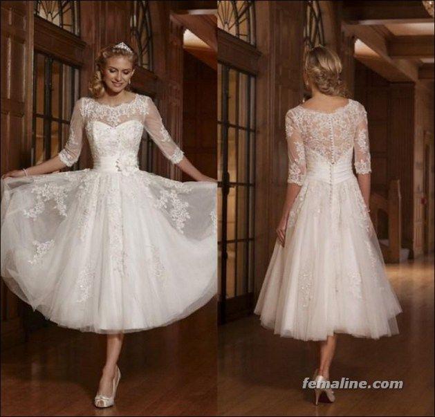111 elegant tea length wedding dresses vintage (90)