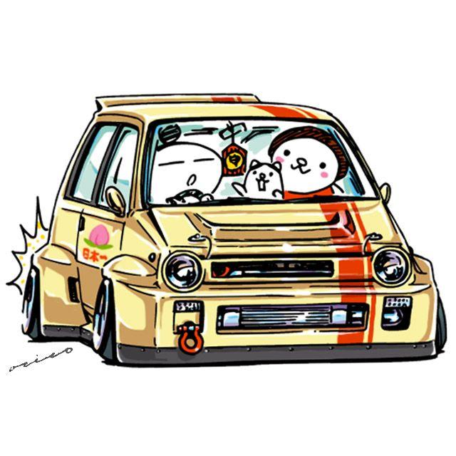 "JDM Japanese old school ""Bulldog"" original character ""mame mame rock"" / © ozizo"