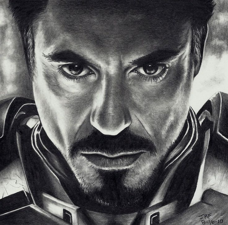 Amazing drawing of Robert Downey Jr. as Iron man.