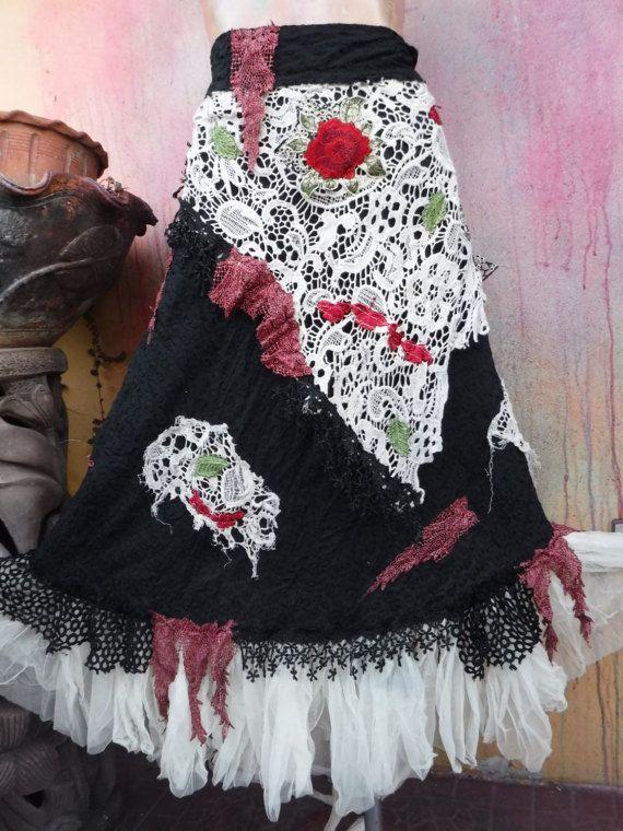20% korting op Boheemse omslag rok Boheemse rok shabby door wildskin