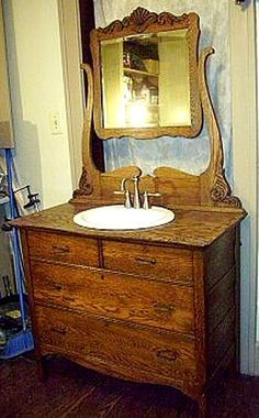 Antique Bathroom Vanity -  using my hutch that I no longer have room for in the dining room