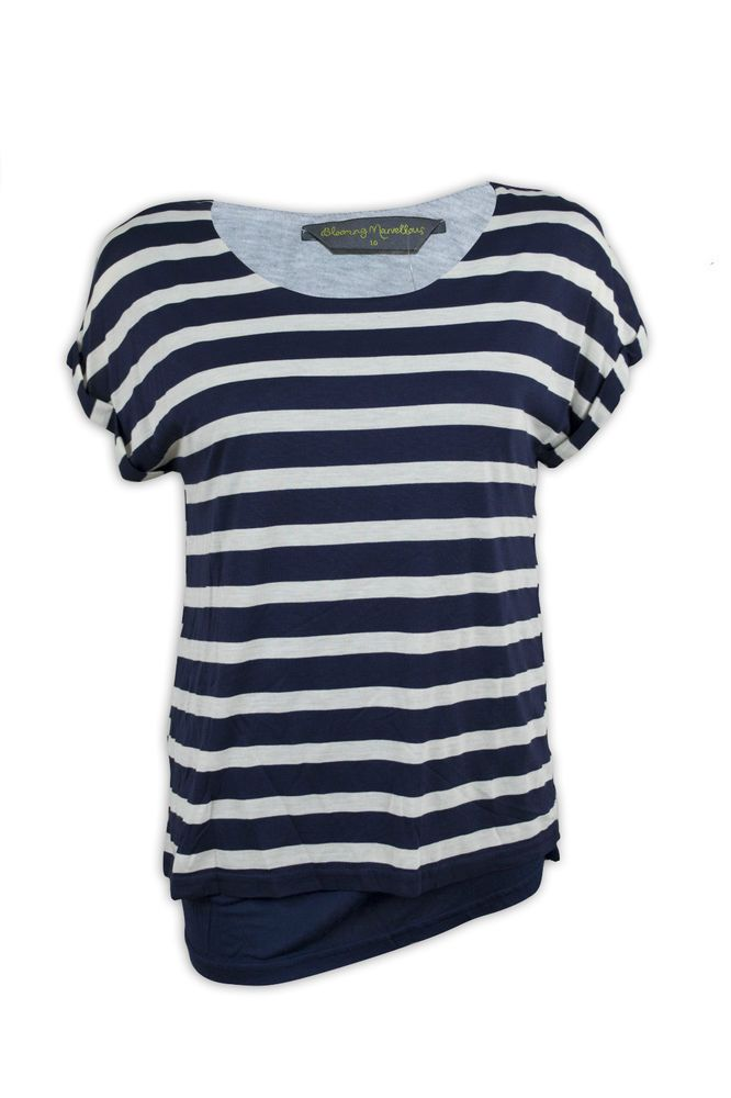 Blooming Marvellous Mothercare Maternity #Pregnancy Striped Double Layer #Nursing #maternity