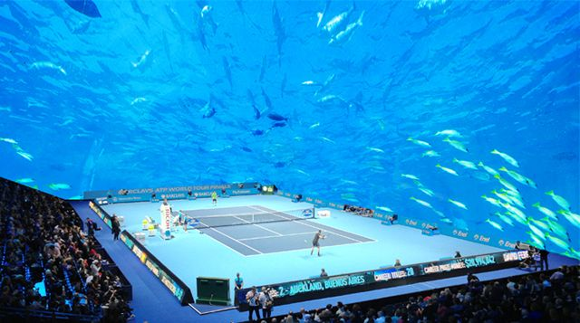 A tennis court under water?
