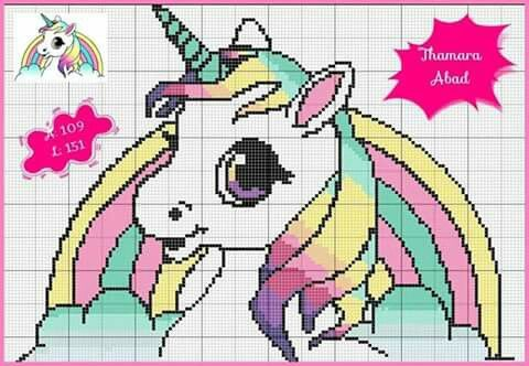 Unicorn and rainbow x-stitch