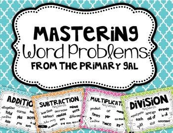 Word Problem Key Word Posters {FREEBIE}. Make with the kids on paper shaped like plus and minus signs. Put the key words for addition and subtraction on the signs with the kids.