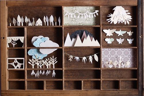 via Villa Villekulla: Paper Cut, Idea, Woods Boxes, Magic Boxes, Shadowbox, Cut Paper Art, Printer Trays, Shadows Boxes, Paper Crafts