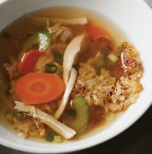 Feeling under the weather? A steaming bowl of Sizzling Rice Soup might be just what the doctor ordered. It's a little bit spicy thanks in part to Szechuan sauce and a little ground ginger.