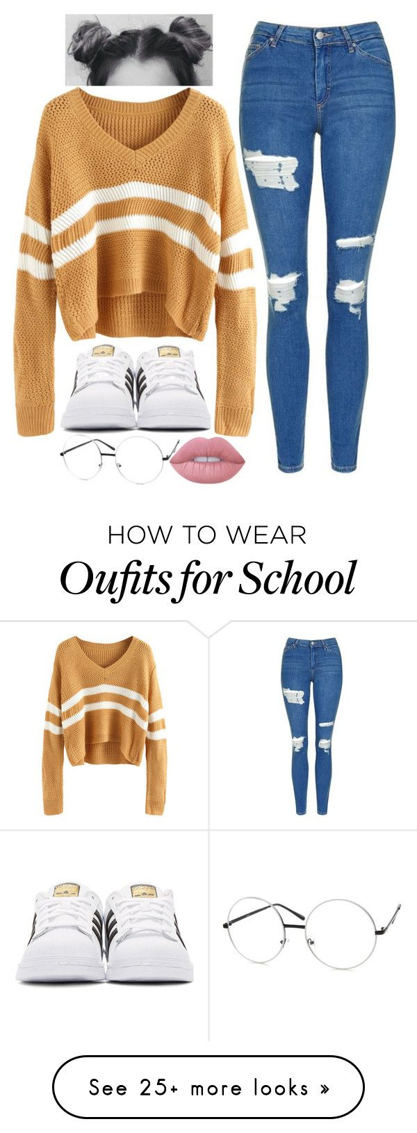 """""""School Sweaters ♡"""" by imahniwilliams on Polyvore featuring Topshop, adidas Originals and Lime Crime"""