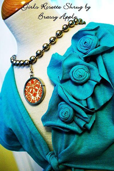 easy upcycle {with pattern} T-shirt to girl's shrug: Tees Shirts, Brassy Apples, Shrug Tutorials, Diy Clothing, Girls Shrug, T Shirts, Girls Rosette, Make Flowers, Fabrics Flowers